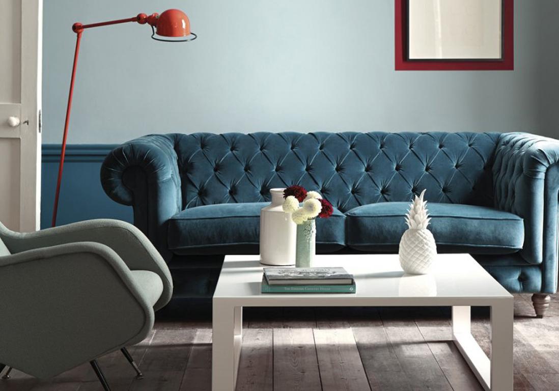 Deco Salon Bleu Roi canapé bleu canard idee deco salon bleu canard - idees