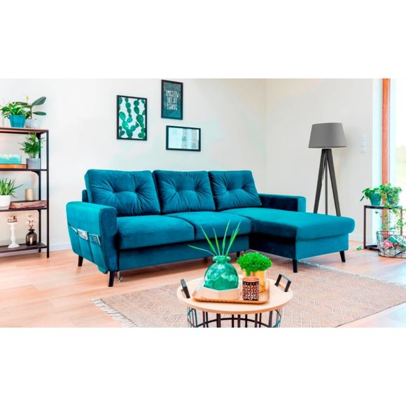 SOFA STORY Canapé Stockholm Bleu Canard Droit Achat