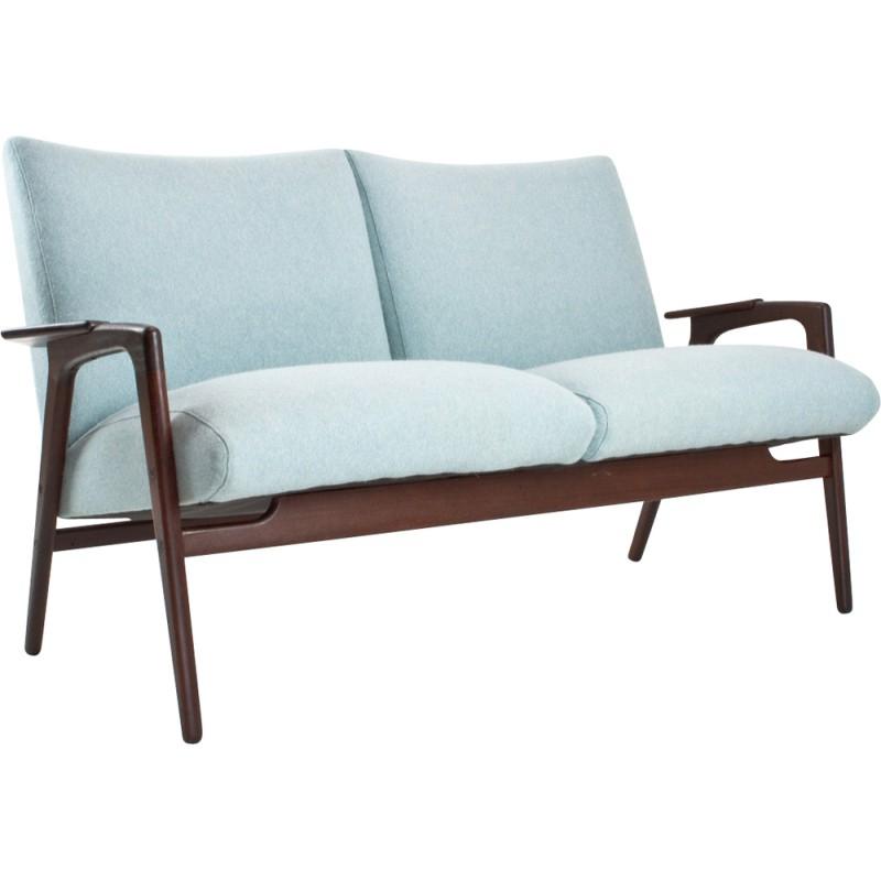 Canapé 2 places Pastoe en teck et tissu bleu ciel Yngve