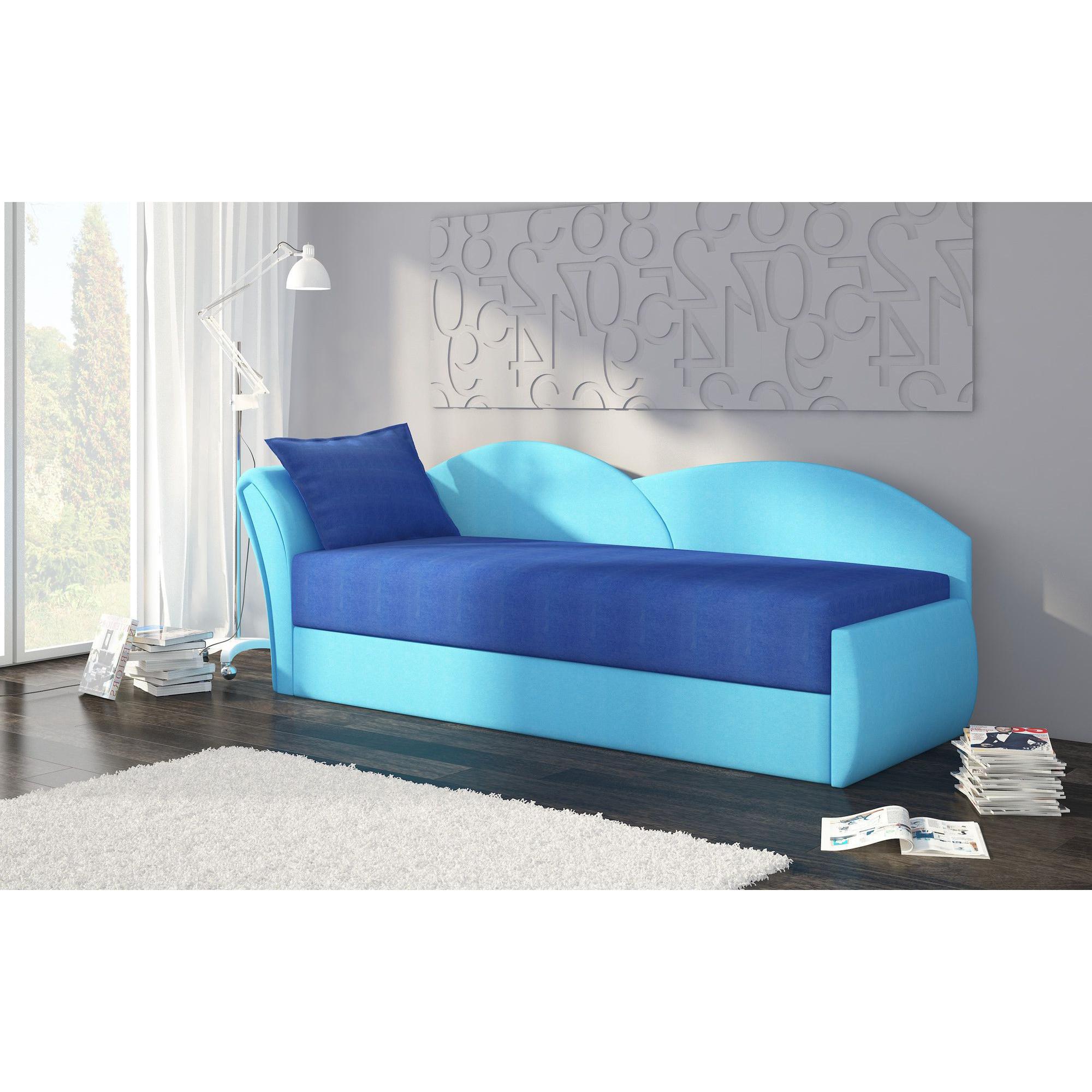 Canapé convertible 2 places en tissu bleu ciel avec coffre