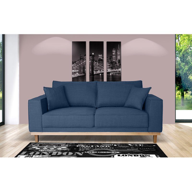 Canapé 2 places fixe pieds bois en tissu bleu nuit