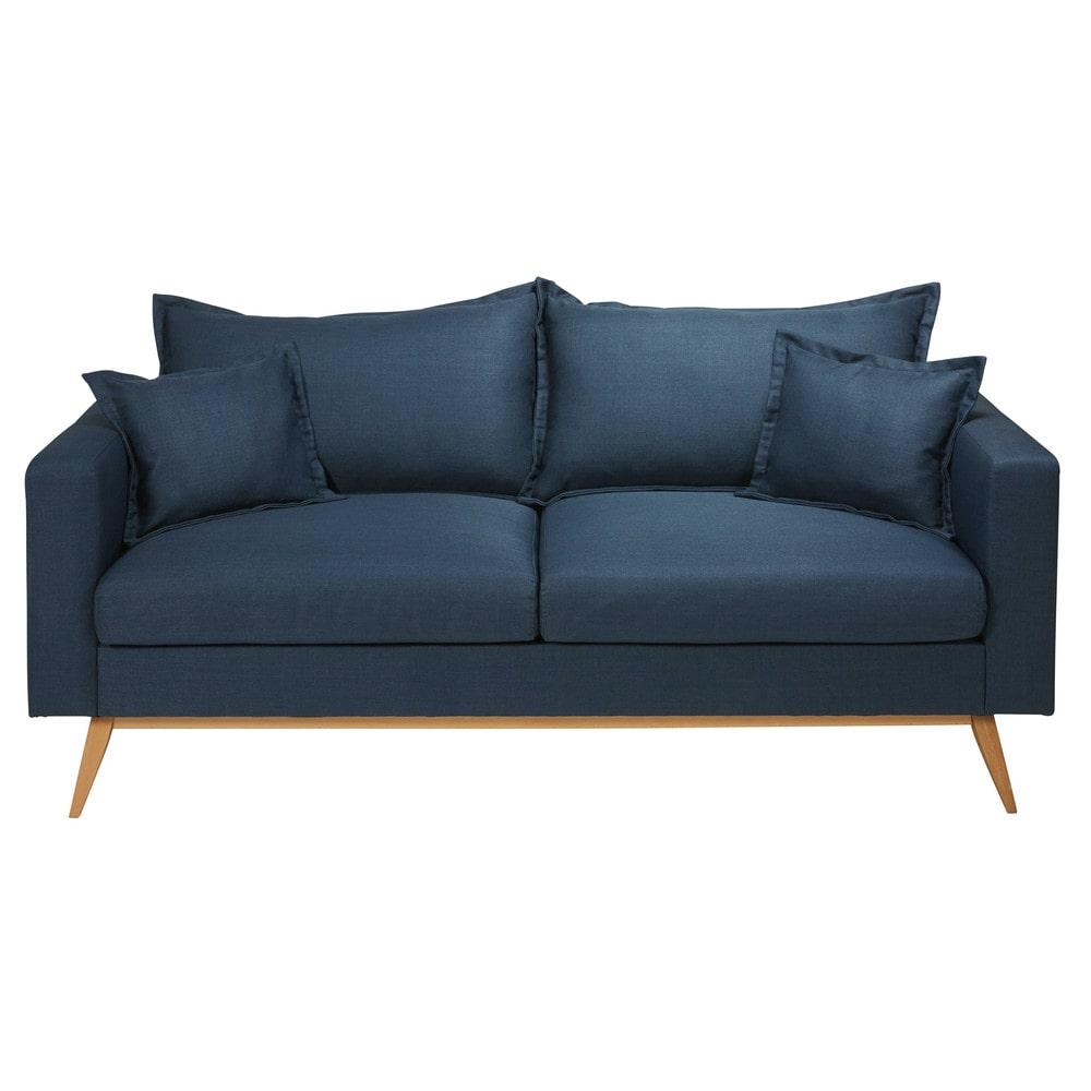 Canapé 3 places en tissu bleu nuit Duke