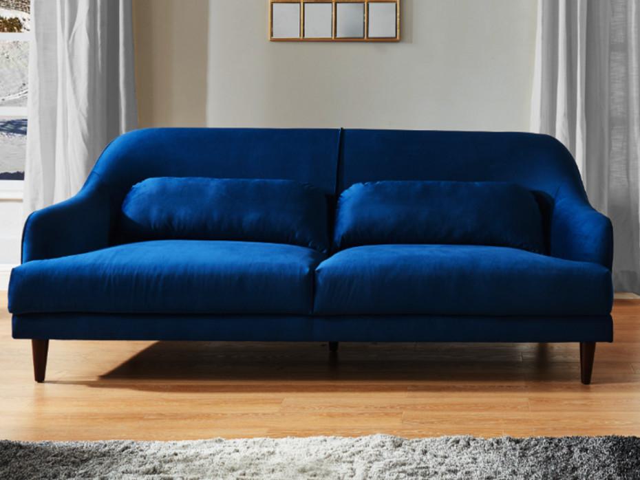Canapé 3 places en velours bleu nuit style boudoir YOURI