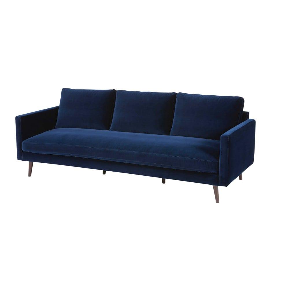 Canapé 4 places en velours bleu nuit Kant
