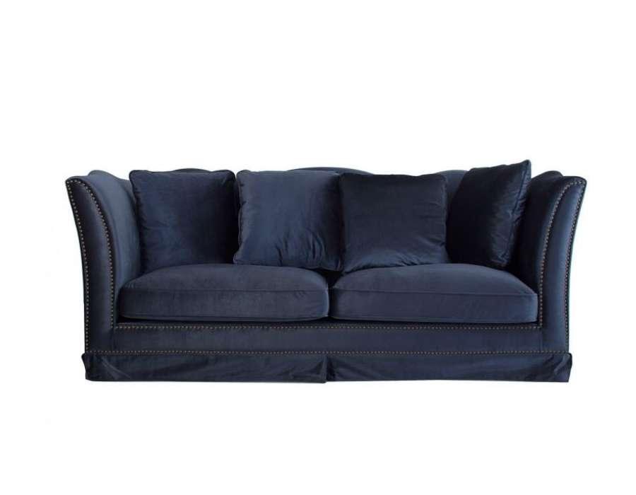 canapé bleu nuit en velours moderne vical home