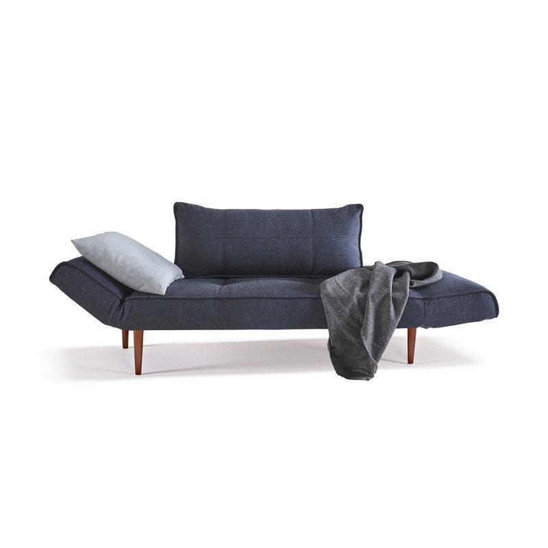 Canapé bleu nuit Pieds bois foncé ZEAL