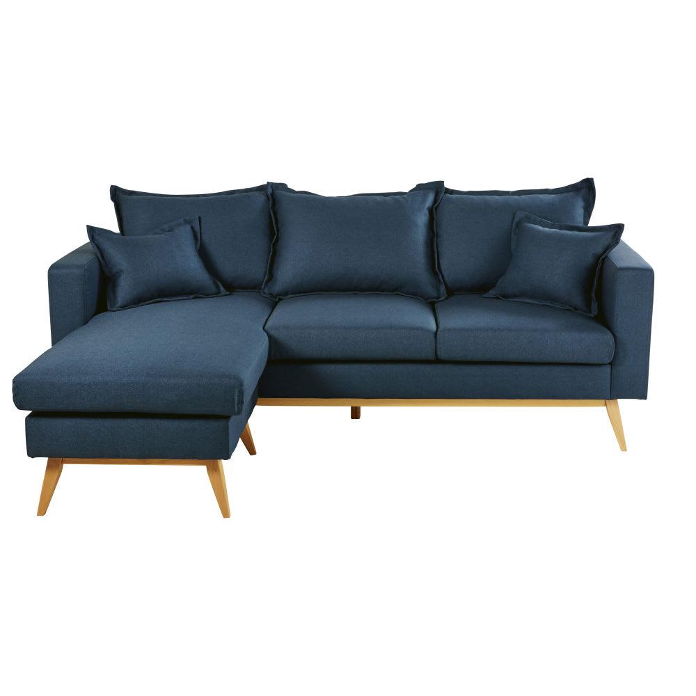 Canapé d angle modulable style scandinave 4 5 places bleu