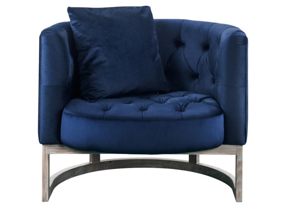 Canapé et fauteuil en velours coloris bleu nuit CLIFORD