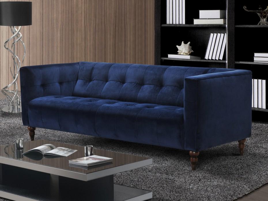 Canapé et fauteuil en velours vintage bleu ou gris MARGAUX