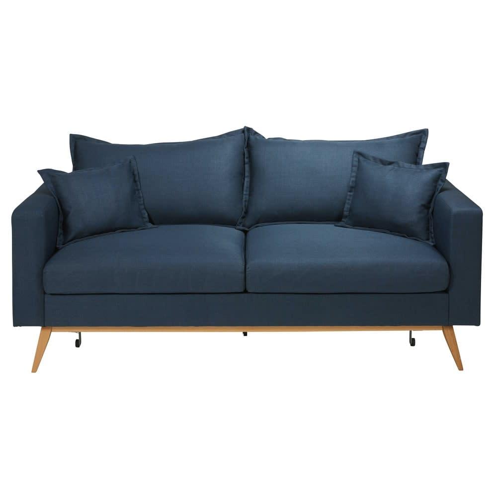 Canapé lit 3 places bleu nuit Duke