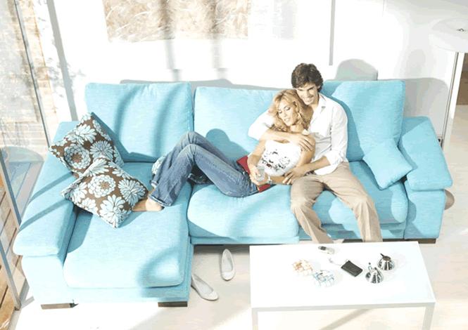 Acheter votre canapé d angle contemporain en tissu bleu