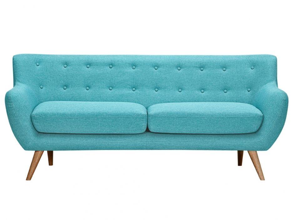 Canapé 3 places en tissu SERTI Bleu turquoise avec