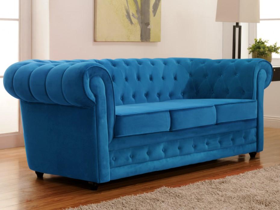 Canapé 3 places en velours Bleu turquoise CHESTERFIELD