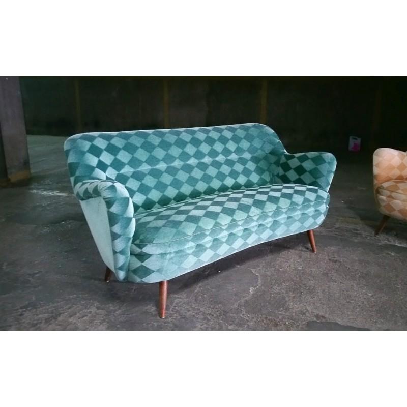 Canapé bleu turquoise à motif losange 1950 Design Market