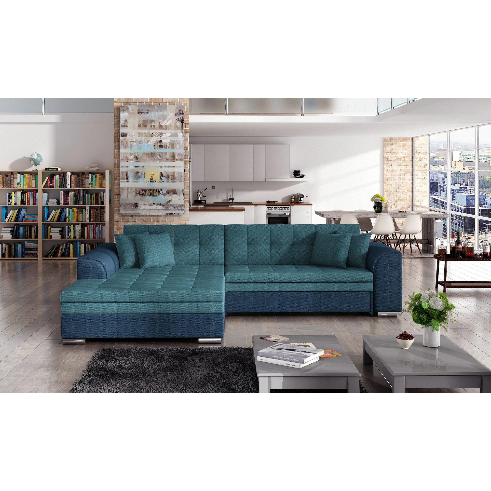 Canapé d angle convertible 4 places en tissu turquoise et