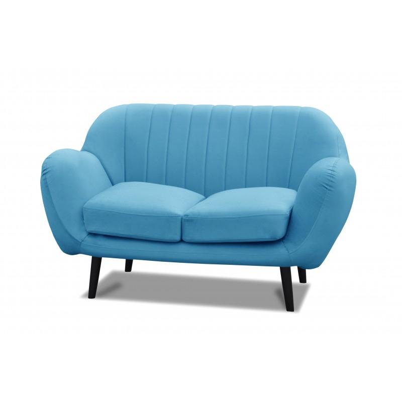 Canapé scandinave 2 places en tissu bleu turquoise Atout