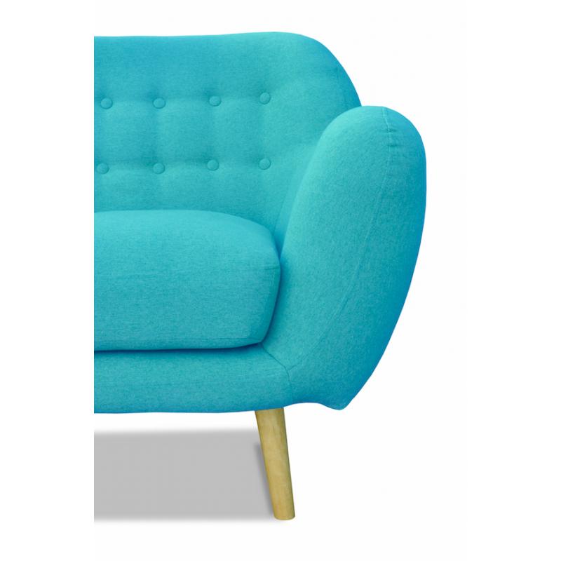 Canapé scandinave 2 places en tissu bleu turquoise Malmo