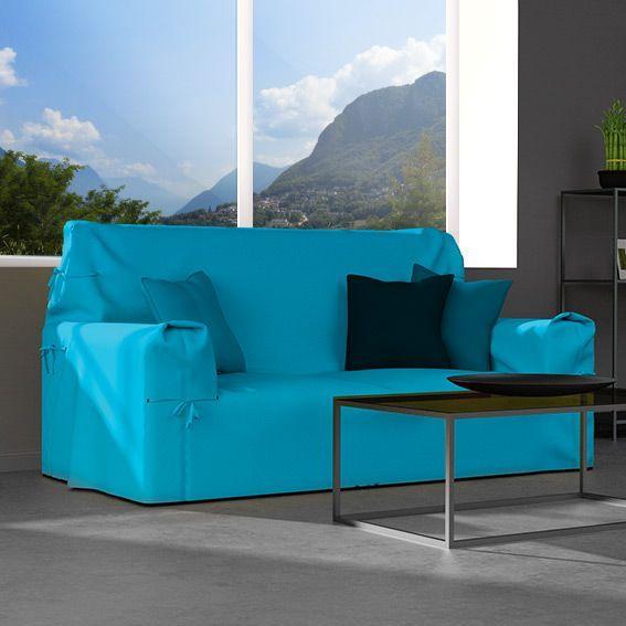 Housse de canapé 2 places Gamme Contemporaine Bleu