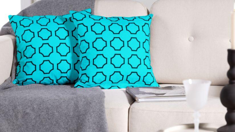 Housse de coussin turquoise