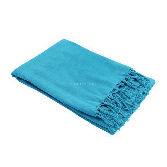 Jeté de canapé 150 cm Lana Bleu turquoise Déco textile