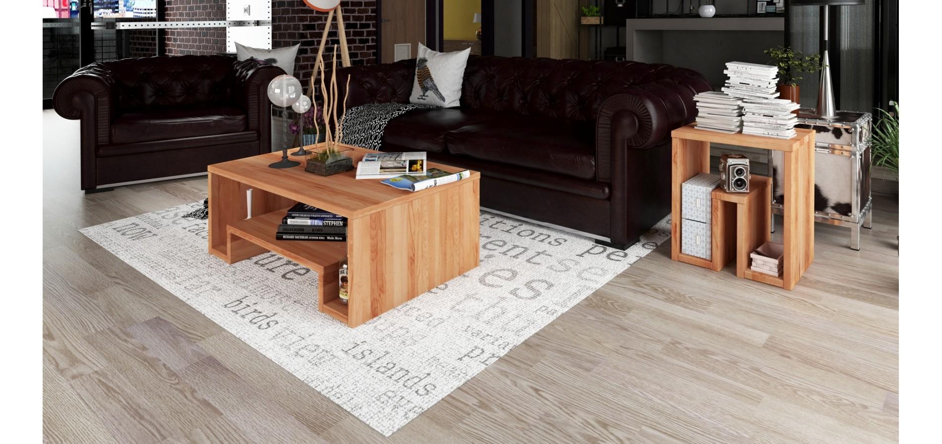 Bout de canapé en bois massif design LL