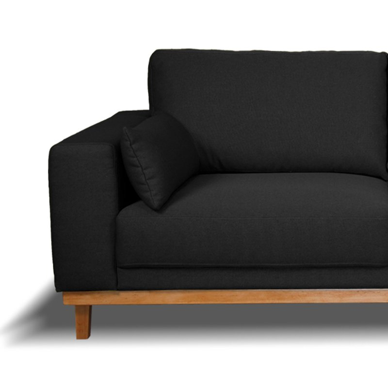 Canapé 2 places fixes pieds bois massif en tissu