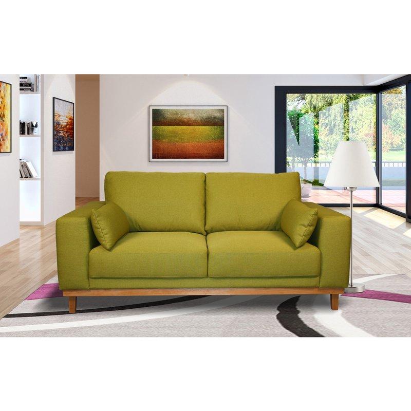 Canapé 2 places fixes pieds bois massif en tissu pistache