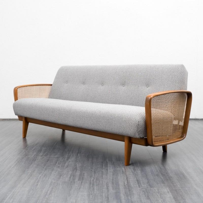 Canapé convertible 2 places en bois massif et tissu gris
