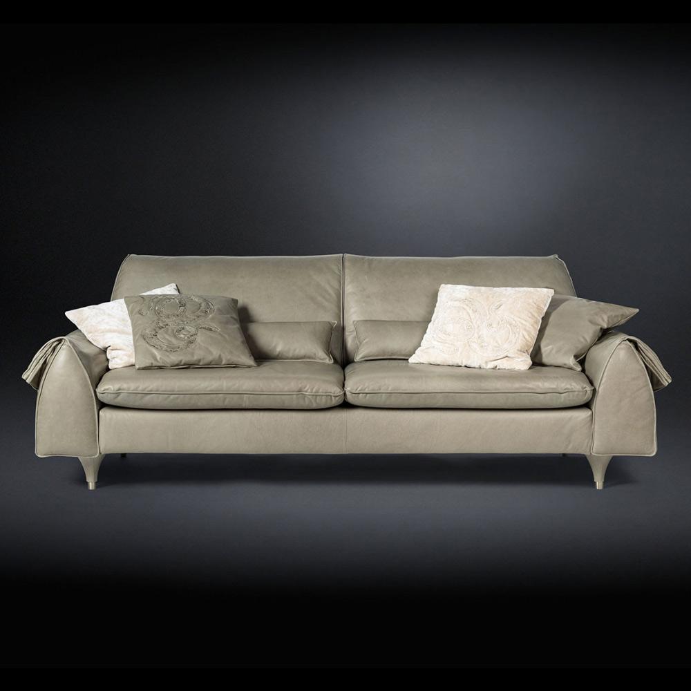 Canapé Eve bois massif et cuir avec accoudoirs de rangement