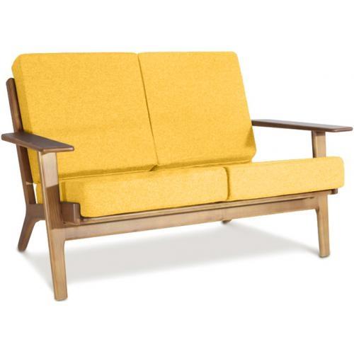 Canapé 2 places bois naturel et tissu jaune Buton
