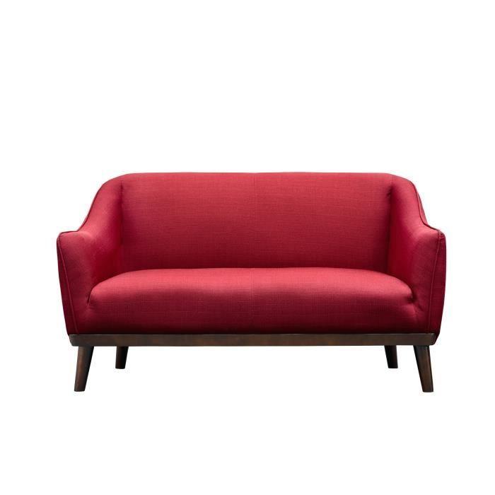 Canapé 2 places rouge en tissu pieds en bois Achat