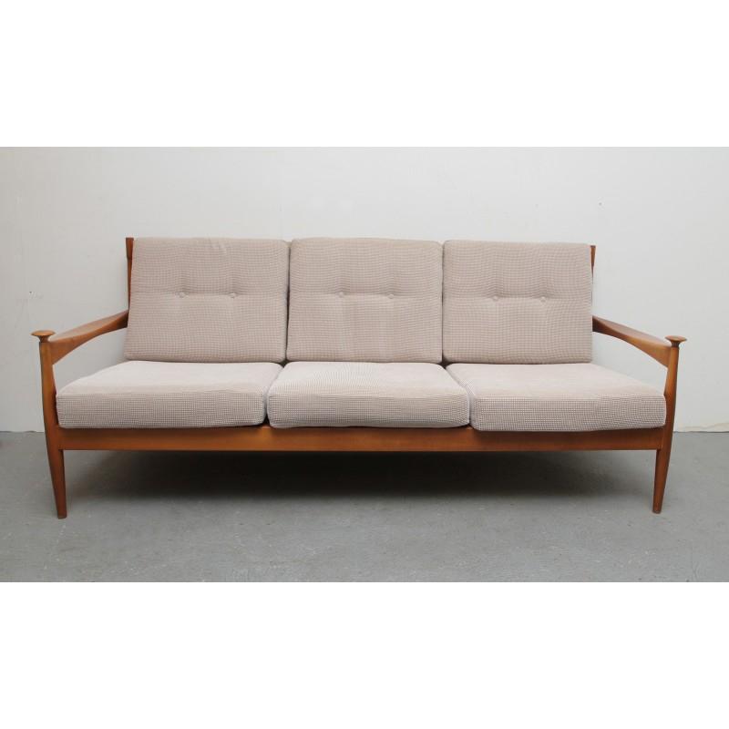 Canapé 3 places en bois massif et tissu beige 1960