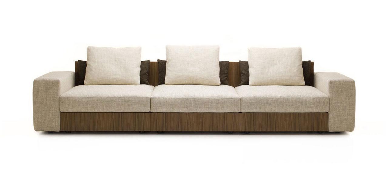 canapé bois et tissu