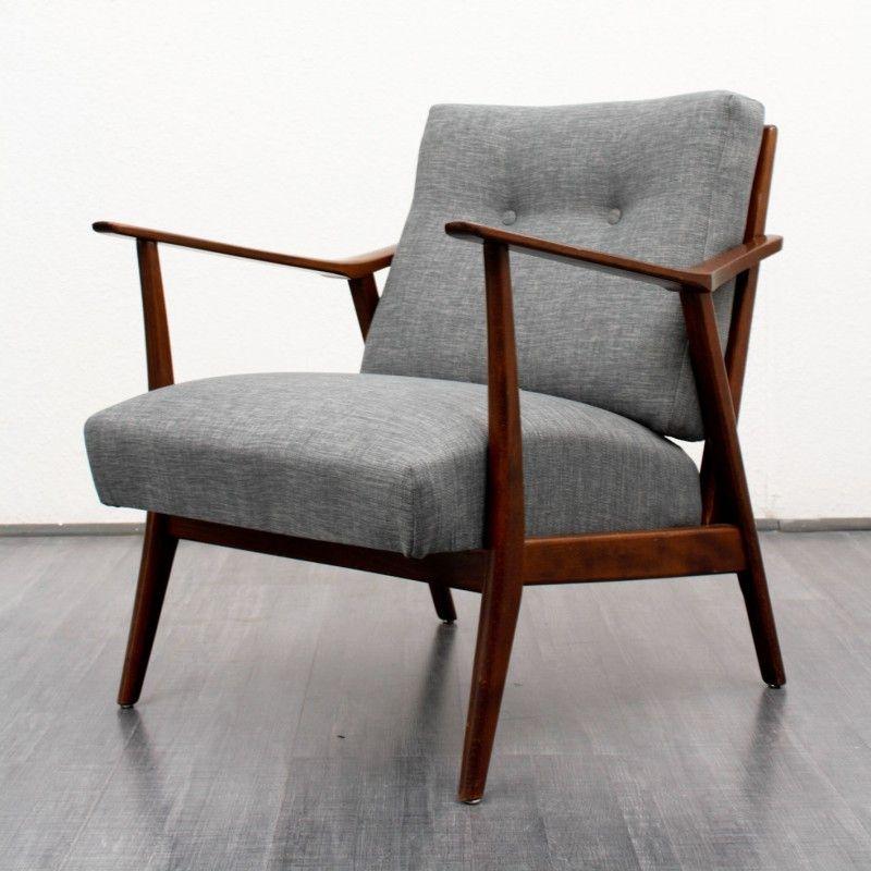 Fauteuil vintage en bois et tissu gris chiné 1950