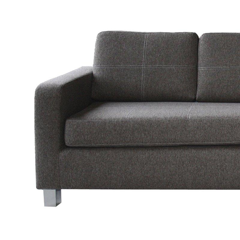 Canapé 2 places fixe coussin capitonné en tissu gris