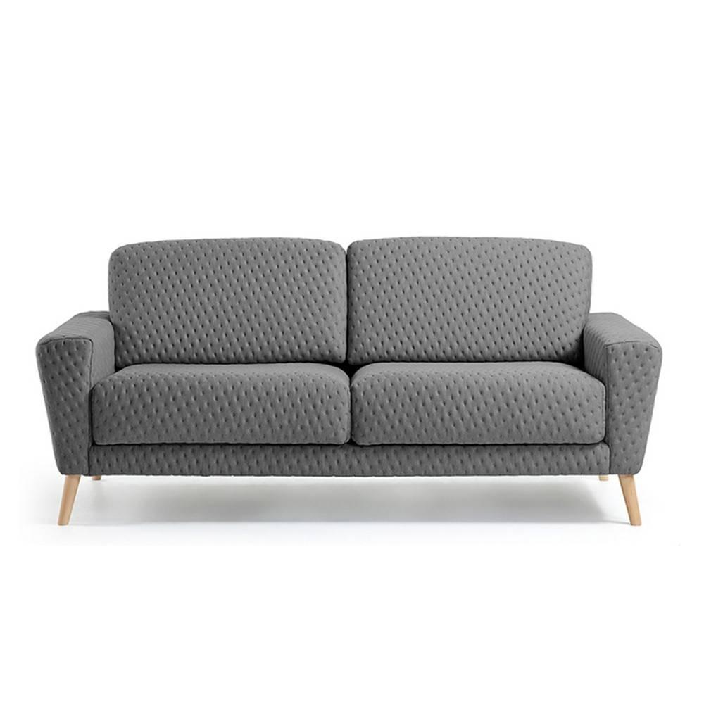 Canapé 3 places scandinave en tissu capitonné BRUNO GRIS