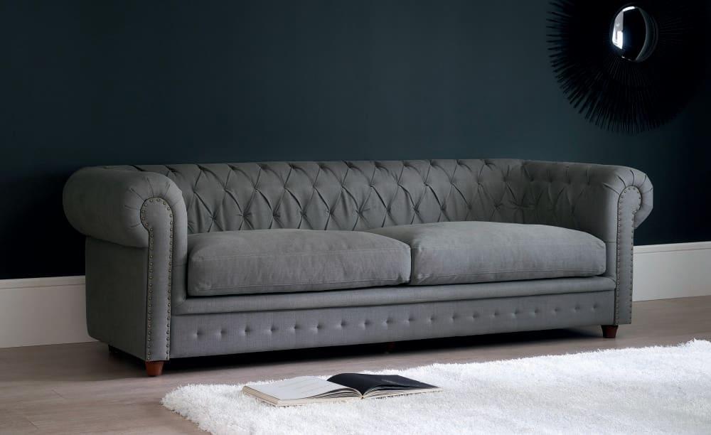 Canapé capitonné 3 4 places en coton et lin gris bleuté