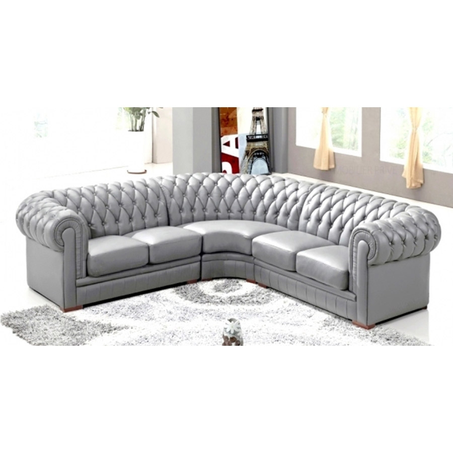 DECO IN PARIS Canape d angle capitonne cuir chesterfield