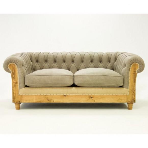 Canapé chesterfield bois vieilli et cuir gris Essence
