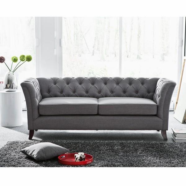 Canapé chesterfield – tissu gris