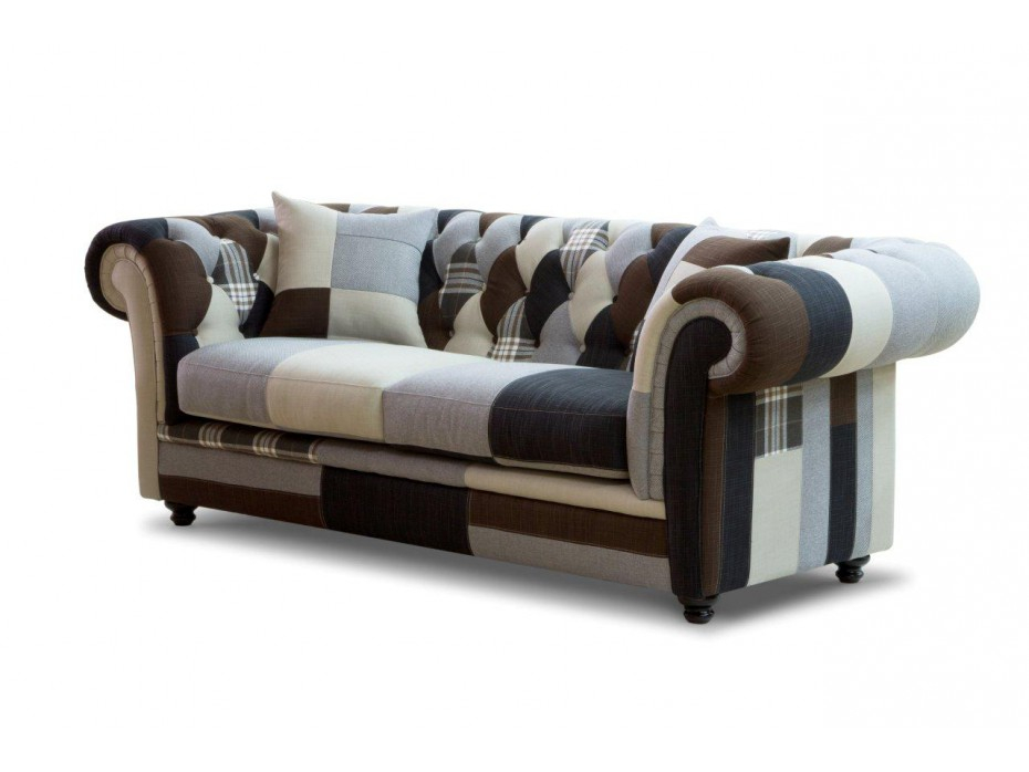Canapés 3 places CHESTERFIELD Patchwork arlequin tons