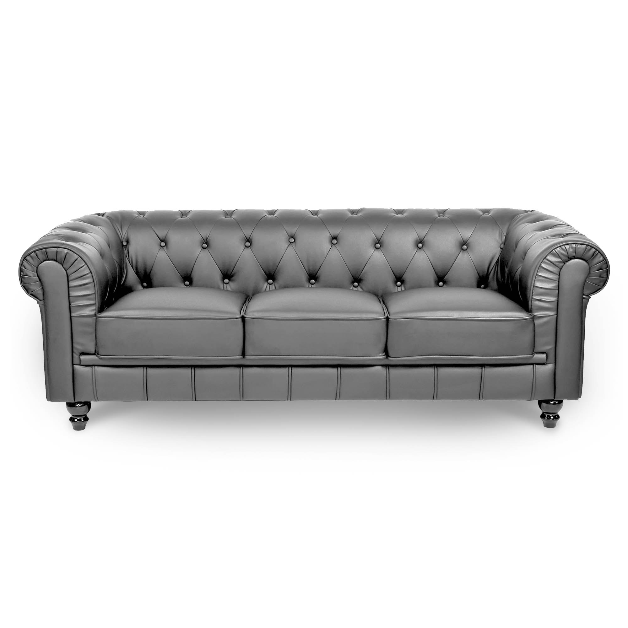DECO IN PARIS Canape 3 places gris chesterfield can