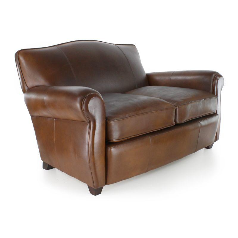 Canapé club cuir marron vintage