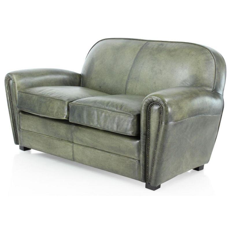 Canapé club cuir vert de gris 2 places