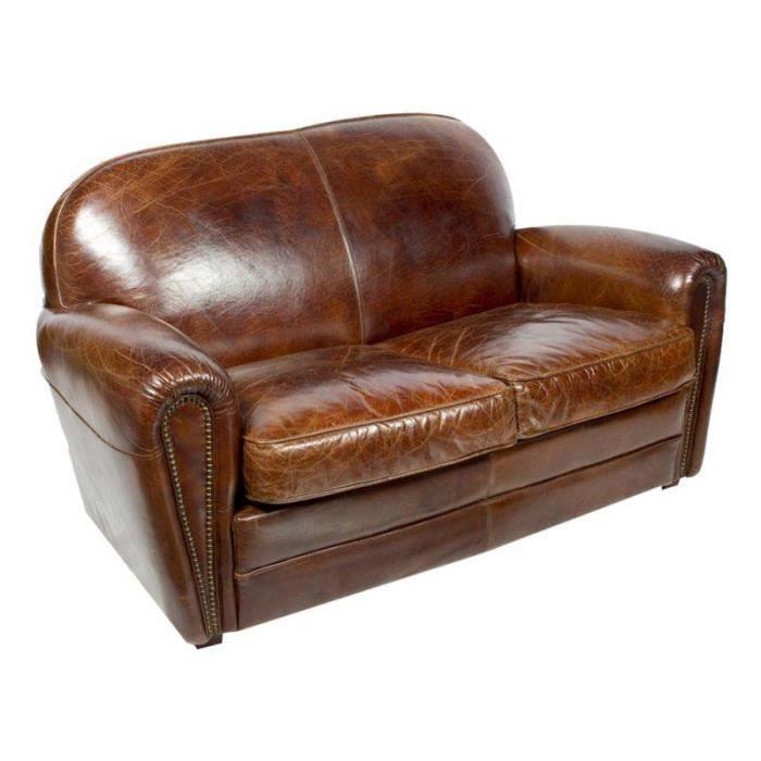 Canapé club SHEFFIELD cuir marron vintage Achat Vente