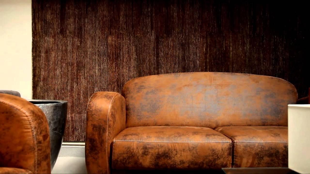 Ensemble club fauteuil et canapé imitation cuir vieilli