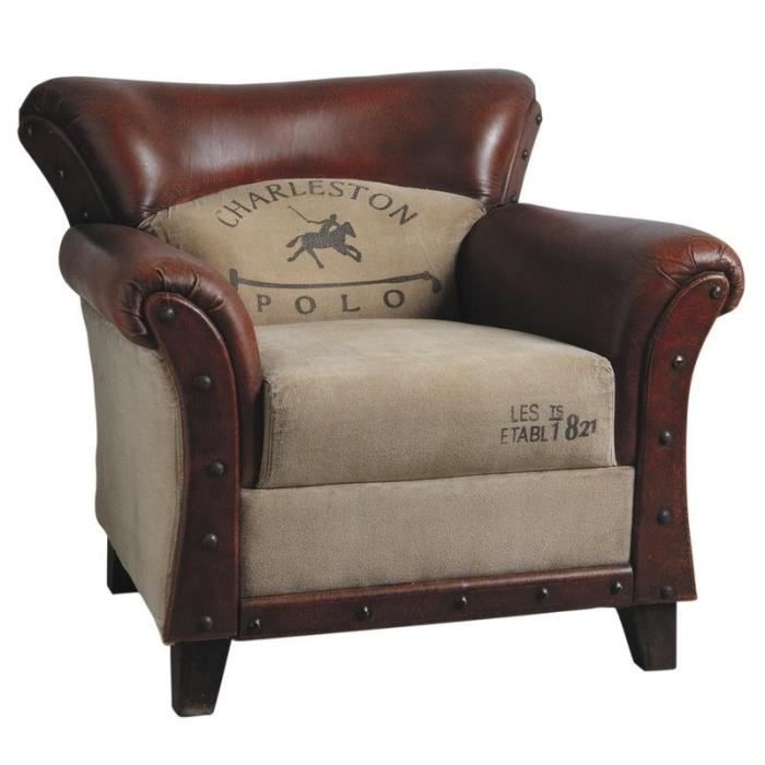 Fauteuil charleston polo vintage genre fauteuil club cuir