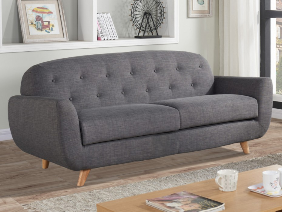 Canapé 3 places charme ROLAND en tissu coloris gris chiné
