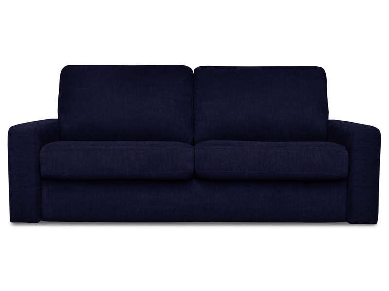 Canapé convertible 3 places en tissu SAMIA coloris bleu