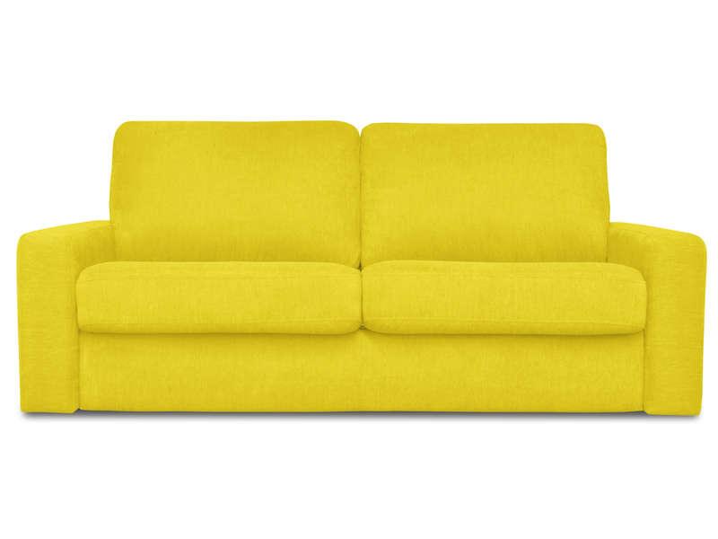 Canapé convertible 3 places en tissu SAMIA coloris jaune